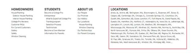 ejemplo del footer de una web donde aparecen todas las localizaciones donde tiene centros la empresa. Esto no es bueno para el seo local