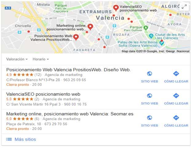 imagen de resultados locales en una búsqueda de google