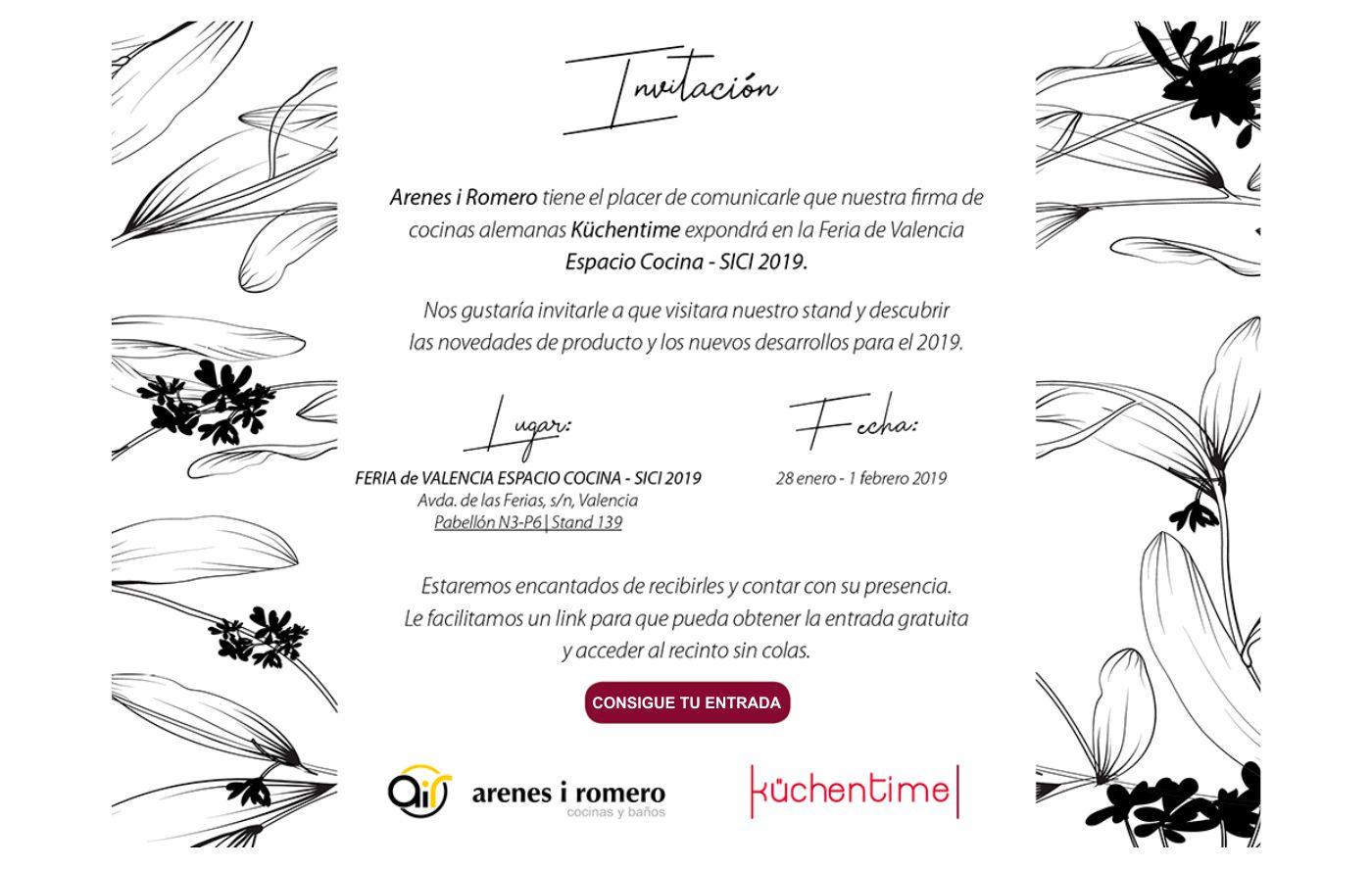 Invitación a Espacio Cocina - SICI 2019 en Valencia